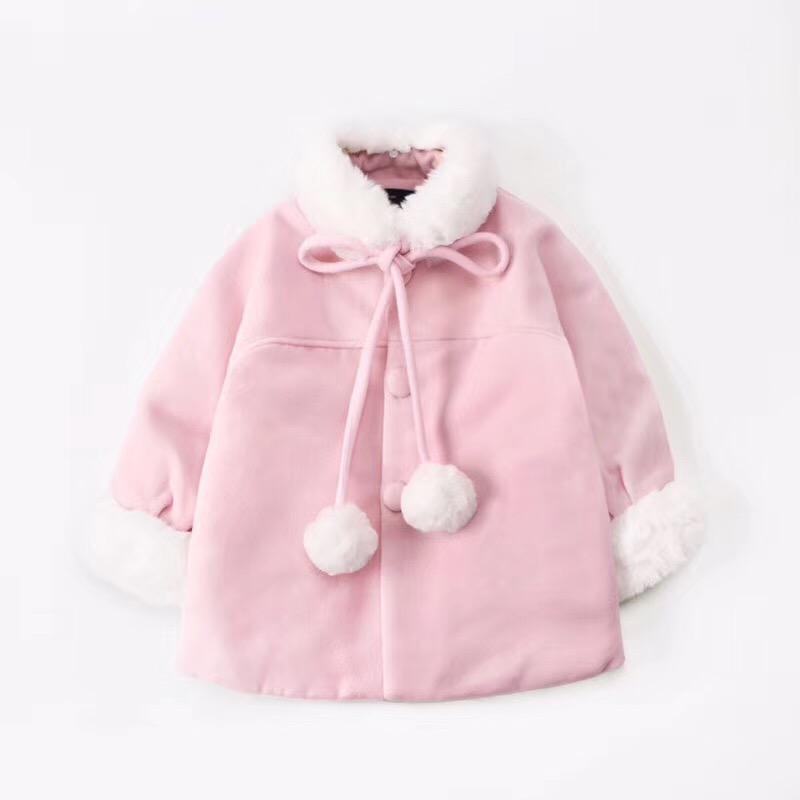 Girls coat pink wool kids coats kids overcoats thicken warm baby girls winter clothes 2018 winter girls wool coats kids warm fashion lapel long sleeve collar girls clothes woolen coat fit 4 10t