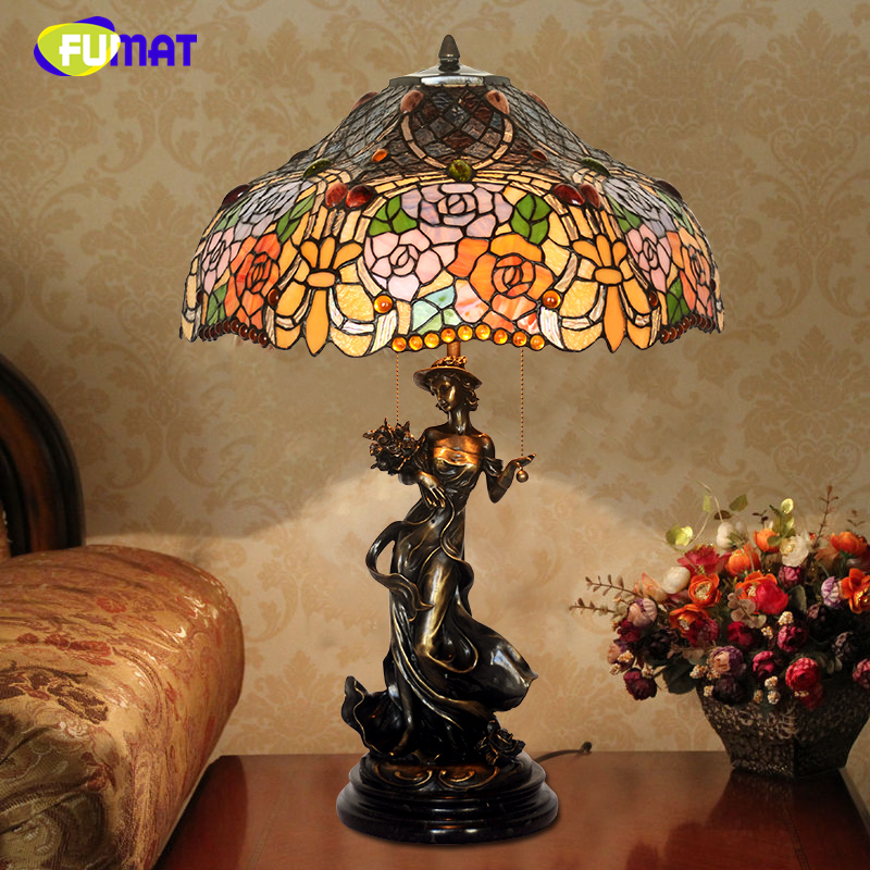 FUMAT Stained Glass Table Lamps Quality Art Glass Lamp For Living Room Bedside Lights Pastroal Stand LED Copper Table Lights fumat stained glass pendant lights small hanging glass lamp for bedroom living room kitchen creative art led pendant lights