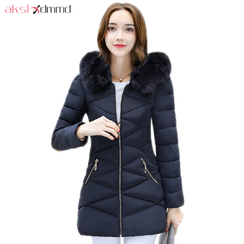 AKSLXDMMD   Parkas   Casual Thick Cotton Coat 2019 New Winter Jacket Women Fur Hooded Zipper Coats Female Jackets Overcoat LH1195