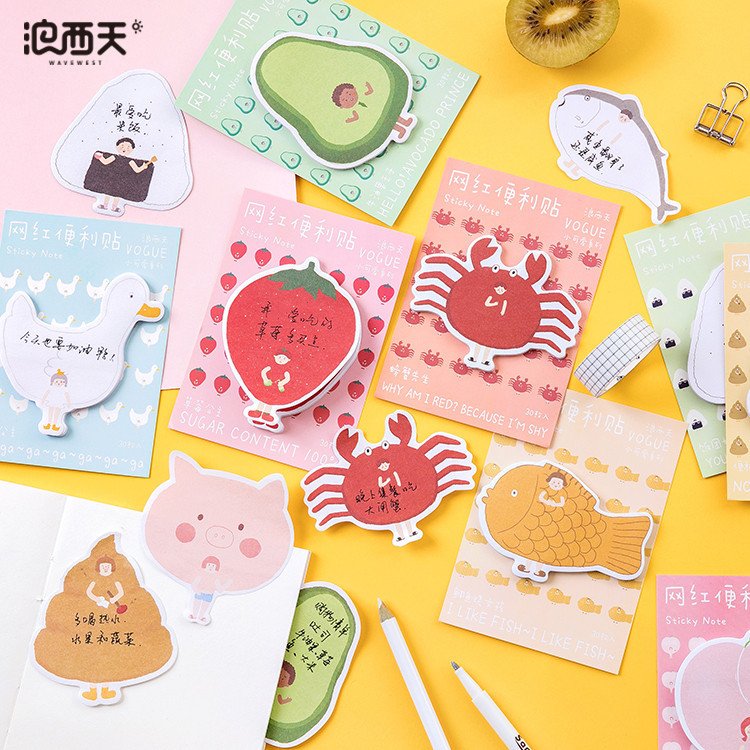 30 Sheets/pack Cute Animals Fruits Memo Pad Planner Stickers Sticky Notes Kawaii Stationery Label Note Pad Office Decoration