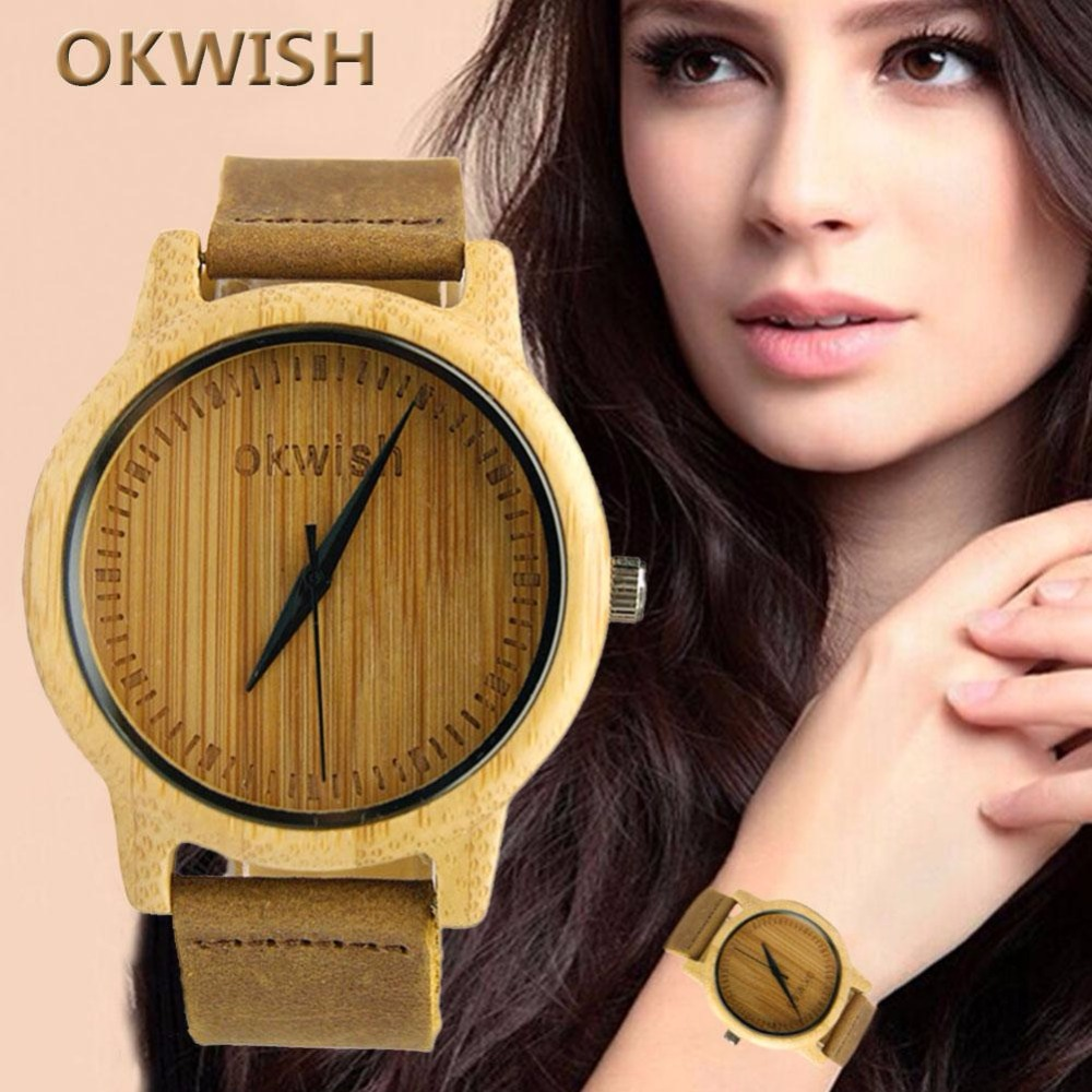 2017 OKWISH High quality Wooden Watch Unique Real Hand Crafted Style Natural Wood Leather