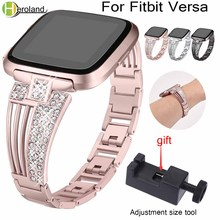 Accessories Stainless Steel WatchBands bracelet Replacement For Fitbit Versa Smart Wrist band metal strap with bling diamond new accessories stainless steel bracelet replacement watchbands for fitbit versa smart band metal strap wrist band with diamond new