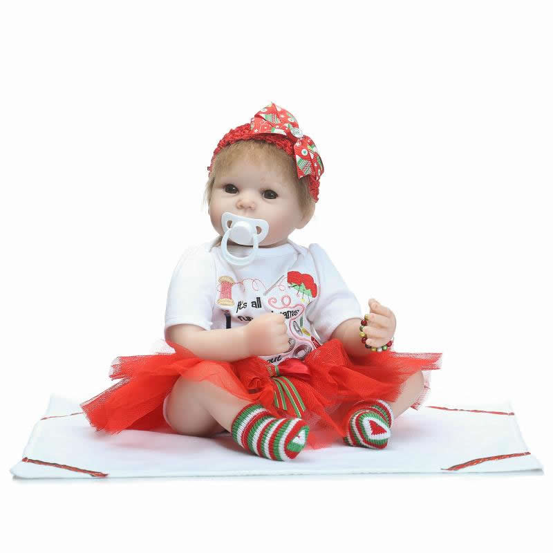 Stylish Lifelike Reborn Girl Babies Soft Silicone 20 Inch 50 m Newborn Princess Baby Toy With Rooted Mohair Kids Christmas Gift 2016 cotton body reborn babies lifelike princess girls doll toy rooted mohair gift for baby reborn poupon brinquedos new year
