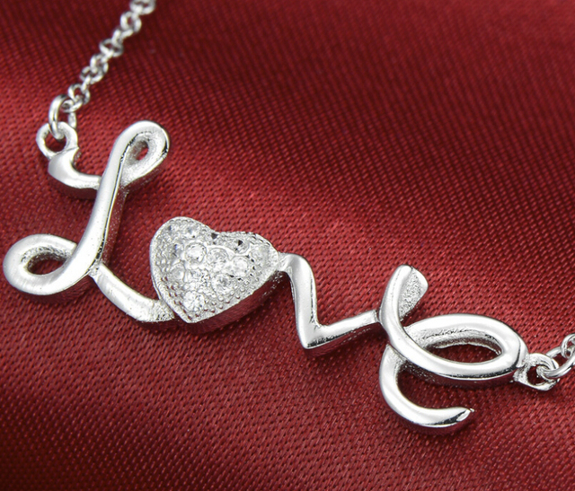 Mother S Day Gift 925 Sterling Silver Jewelry Collarbone Letter Love