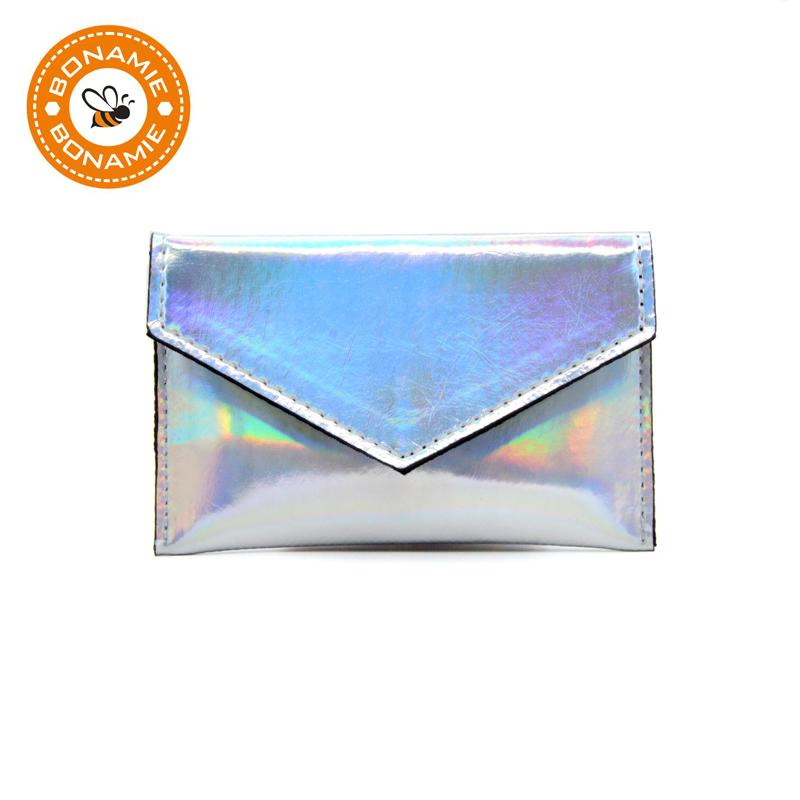 BONAMIE Laser Shining Coin Purse For Girls Women Simple Card Wallet Small Credit Card Holder Leather Female Business Card Bags