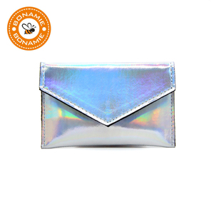 BONAMIE Laser Shining Coin Purse For Girls Women Simple Card Wallet Small Credit Card Holder Leather Female Business Card Bags(China)