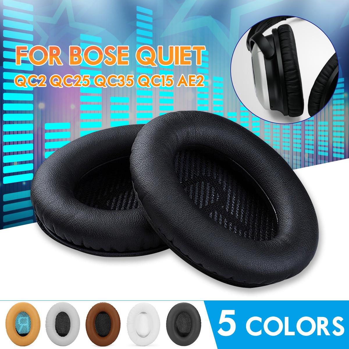 1 paire de Remplacement Mousse Souple Éponge Casque Ear Pad Coussin Noir Blanc Gris Café Kaki Pour BOSE QC2 QC25 QC35 QC15 AE2