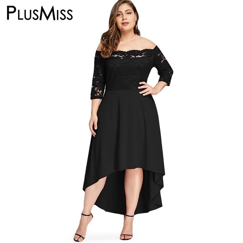 PlusMiss Plus La Taille 5XL 4XL Off Épaule Dentelle Florale Élégante Partie robes Vintage Rétro Rouge Noir Maxi Robe Longue Femmes Grande Taille