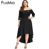 PlusMiss Plus Size 5XL 4XL Off Shoulder Floral Lace Elegant Party Dresses Vintage Retro Red Black Maxi Long Dress Women Big Size
