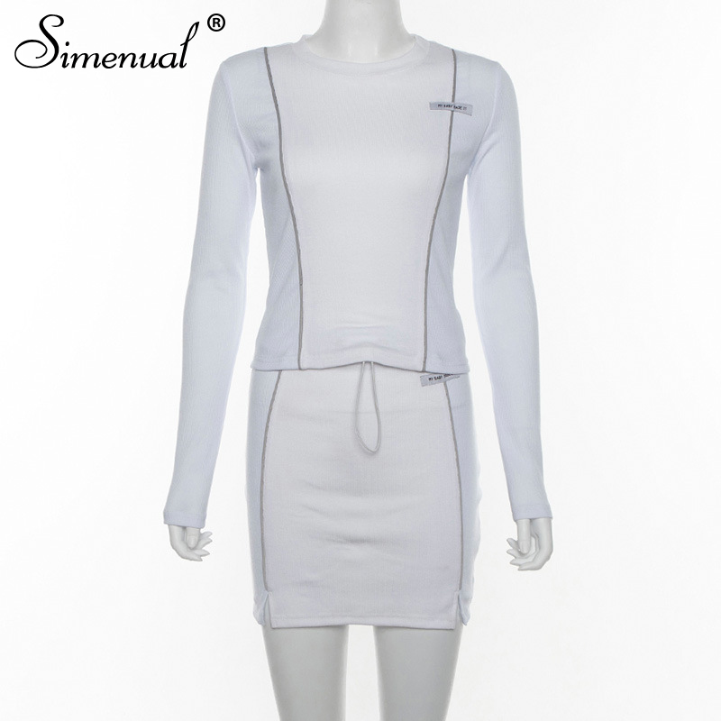 Simenual Casual Fashion Reflective Striped Two Piece Outfits Women Long Sleeve Top And Mini Skirt Sets 19 Autumn White Set New 4