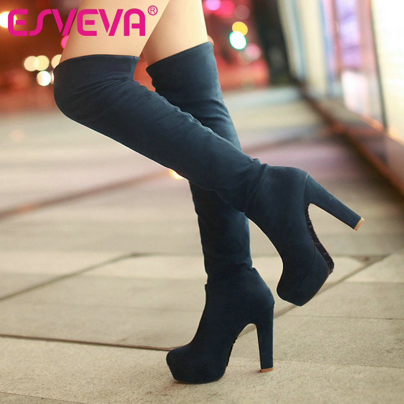 ESVEVA New Hot Pumps Fashion Winter High Heels Big Size Boots for Over The Knee High