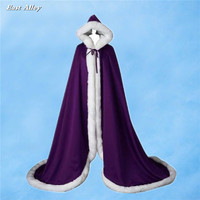 Purple Faux Fur Trim Satin Medieval Cloak Full Length Cape Wedding Bridal Coat