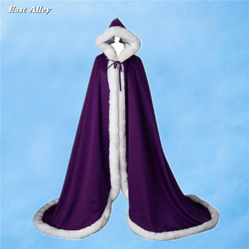 Purple Faux Fur Trim/ Satin Medieval Cloak Full length Cape Wedding Bridal Coat