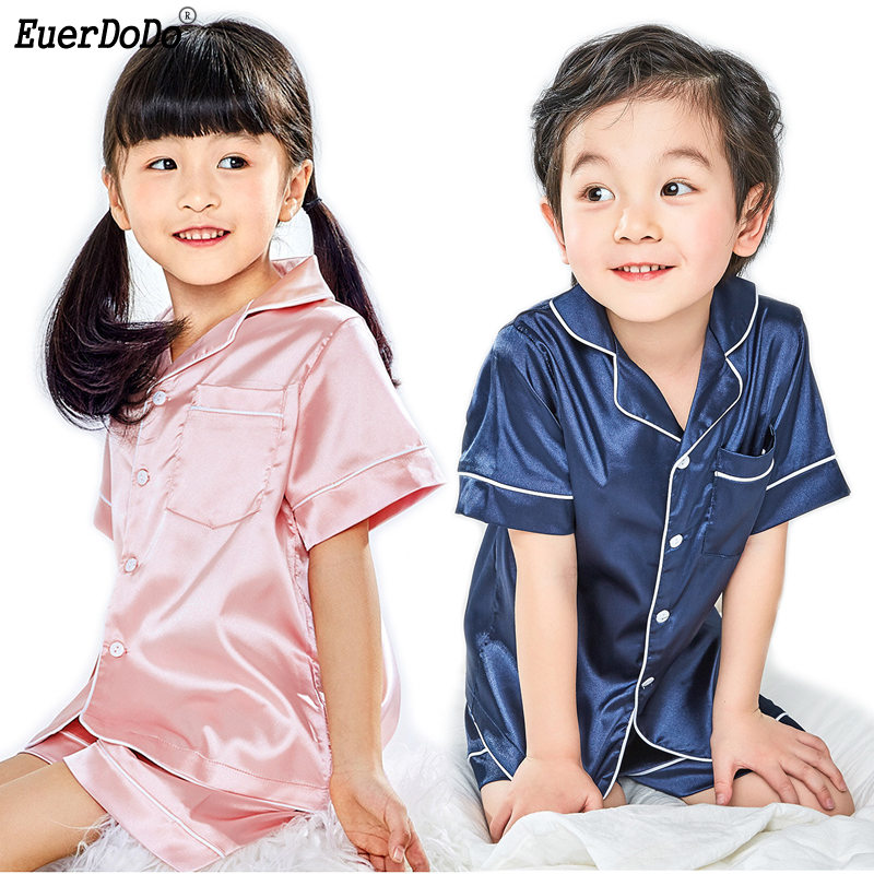 Soft And Silky Children Pajamas Summer Short Sleeve ...
