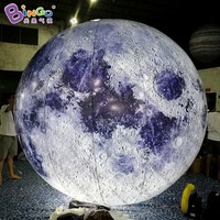 3M Dia Lighting Inflatable Moon Model Hot Sale Customized Blow Up Balloon Type Moon Replica For