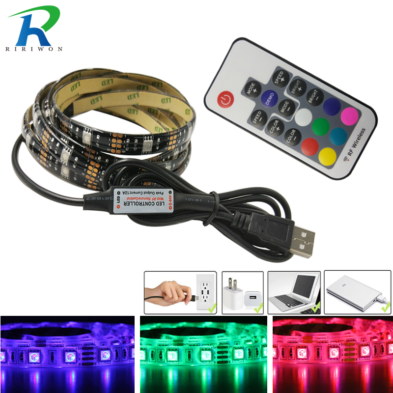 LED Strip Waterproof USB LED Strip Light 1m 2m DC 5V Tape Flexible Lighting RGB CMD 5050 With RF Remote For TV Backlight