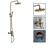 Brass Bathroom Shower Faucet Sets Rotatable Lifting Type Hot and Clod Water Mixer Bath Taps with Flower Shower Head ,Bronze