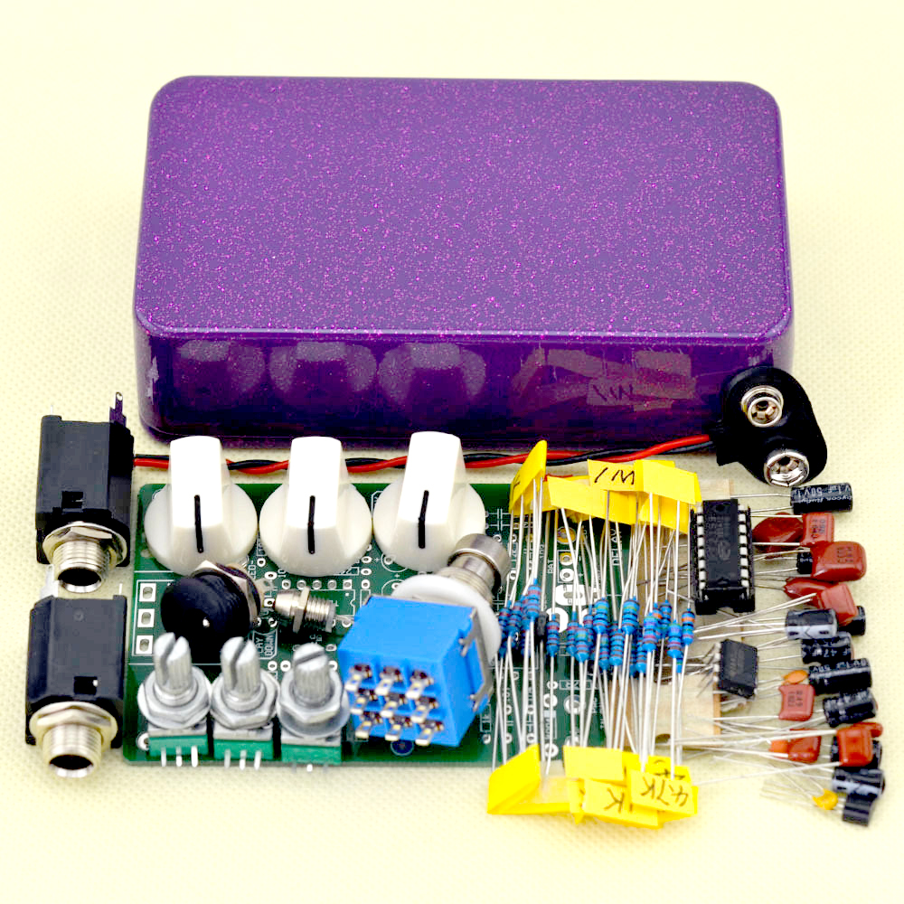 Make Your Delay Pedal kits USE Purple 1590B box Delay-1 Effect pedal True Bypass High quality Free Shipping mooer ensemble queen bass chorus effect pedal mini guitar effects true bypass with free connector and footswitch topper