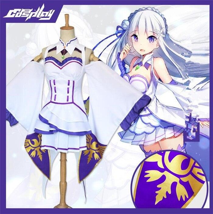 Anime Re Zero kara Hajimeru Isekai Seikatsu Emilia Cosplay Costume A506