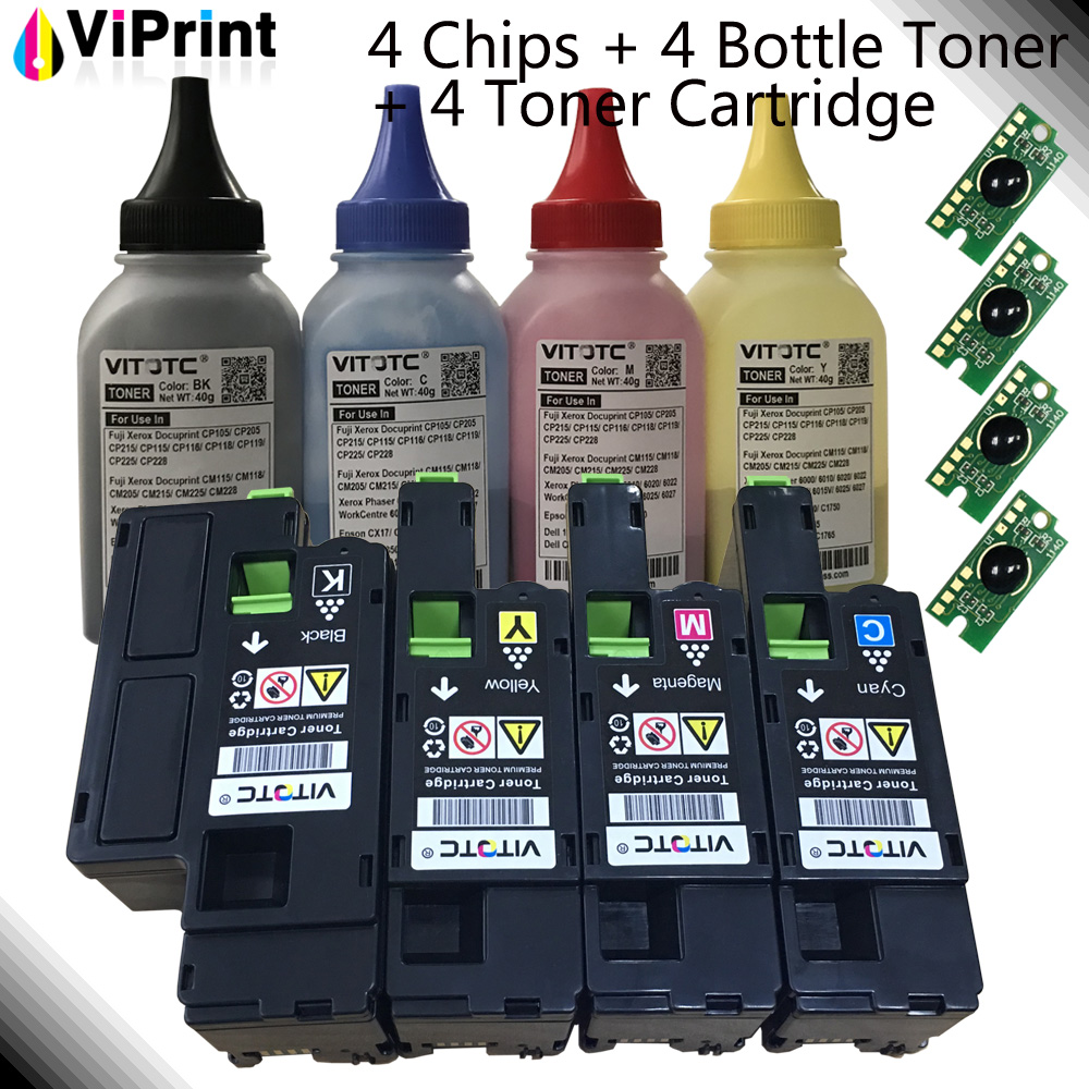 4 Refill Powder 4 Reset Chip 4 Toner Cartridge for Xerox Phaser 6020 6022 Workcentre 6025