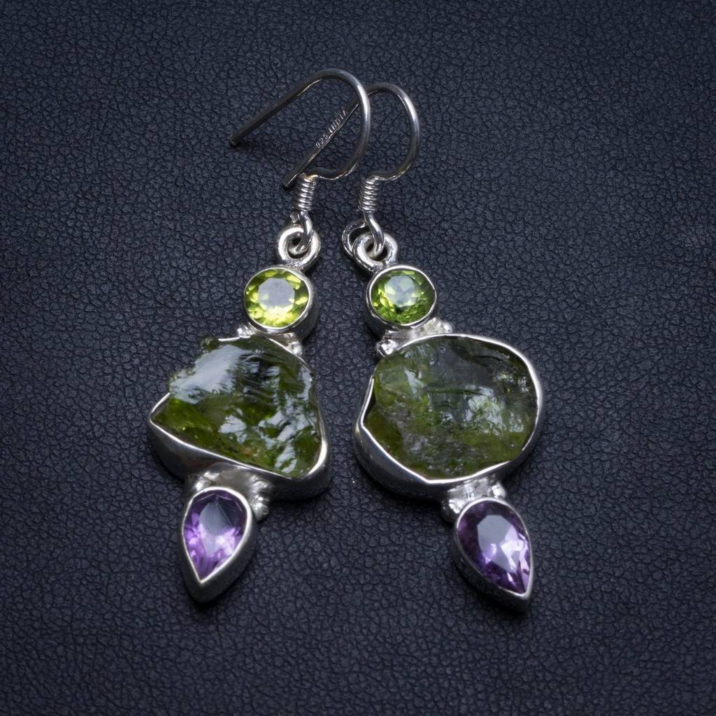 Natural Dyed Crystal,Peridot and Amethyst Handmade Boho 925 Sterling Silver Earrings 1.75 U0932Natural Dyed Crystal,Peridot and Amethyst Handmade Boho 925 Sterling Silver Earrings 1.75 U0932