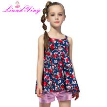 hot deal buy 2018 summer girls clothing sets cotton vest two-piece sleeveles t-shirt+ pants children sets casual fashion girls clothes suit