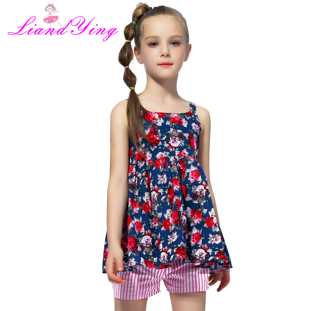 2019 Summer Girls Clothing Sets Cotton Vest Two-piece Sleeveles T-shirt+ Pants Children Sets Casual Fashion Girls Clothes Suit