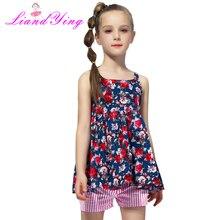 2019 Summer Girls Clothing Sets Cotton Vest Two-piece Sleeveles T-shirt+ Pants Children Sets Casual Fashion Girls Clothes Suit недорого