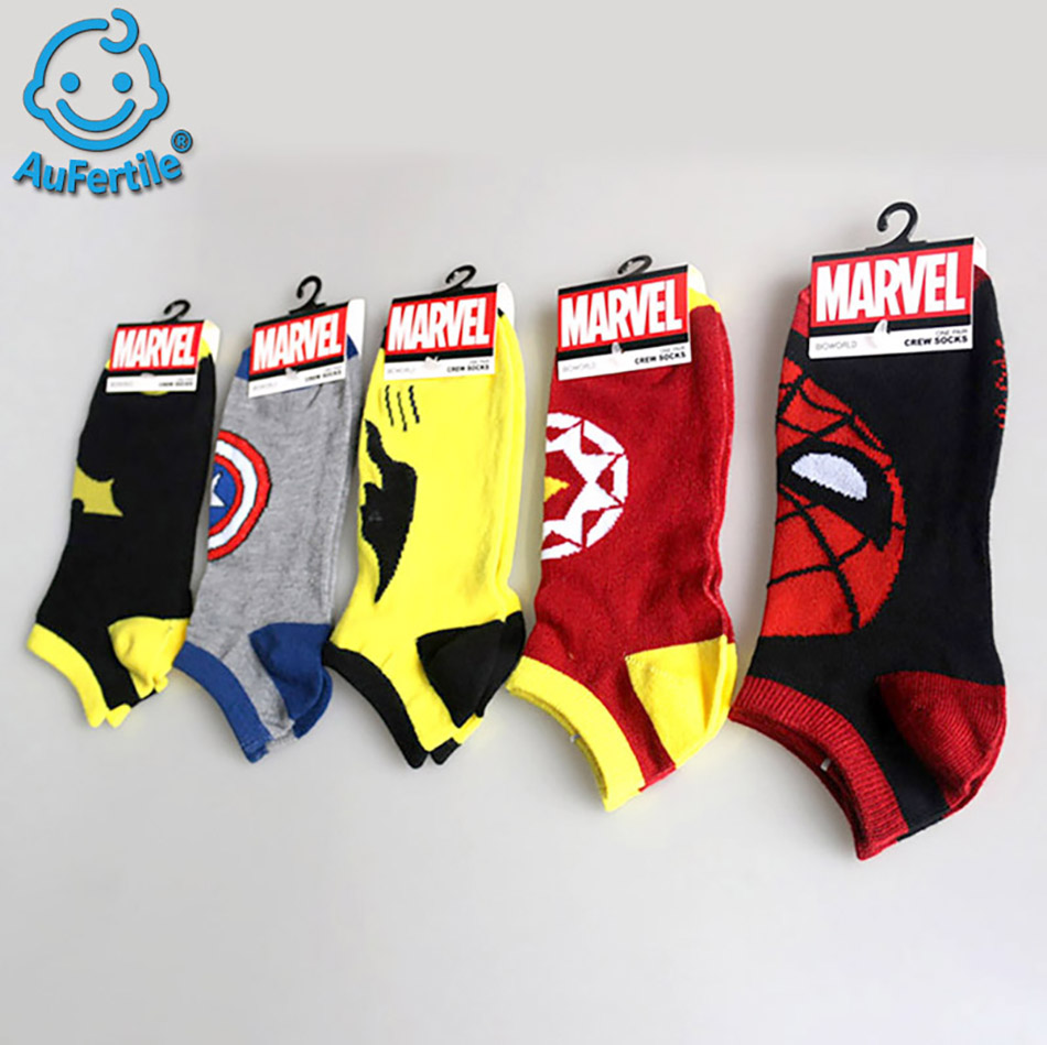 1 pc Cotton summer Cartoon American Super hero Bat Socks Breathable Couple Boat Socks men Short socks Spiderman Crew Socks funny sentence kinitted crew socks