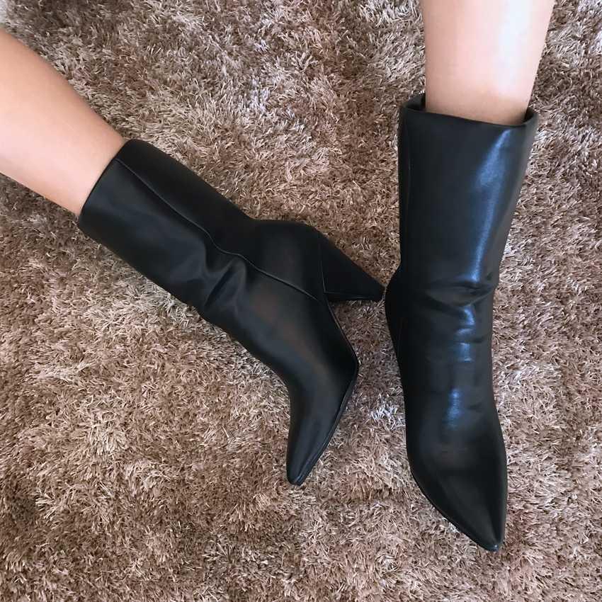 Kadın Faux Süet yarım çizmeler Siyah Deri Çizme Kürk Kar Botları Kadın Çorap Kış Ayakkabı Bayan yüksek topuk ayakkabı Motosiklet Botları
