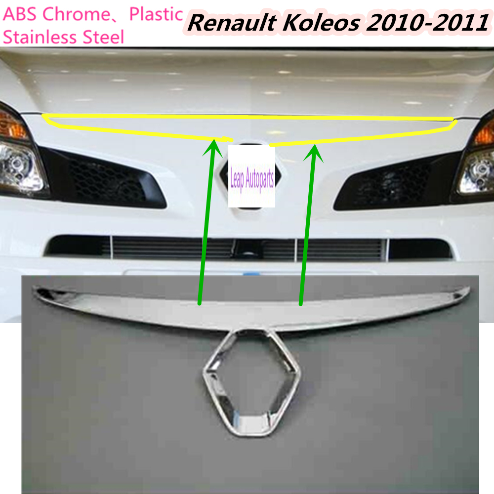 For Renault Koleos 2010 2011 Hot sale garnish ABS Chrome front engine Machine grille upper hood stick lid trim frame lamp 1pcs