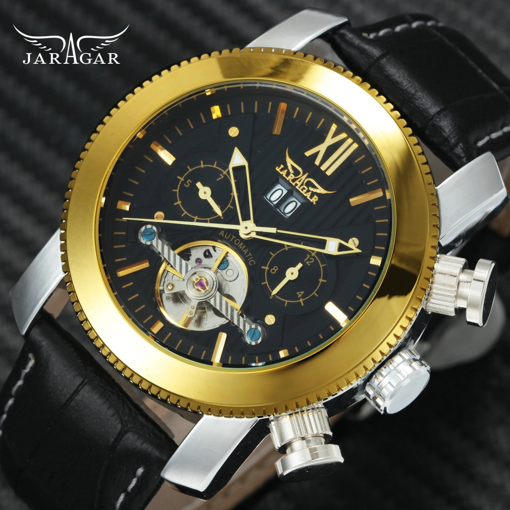 2018 JARAGAR Fashion Auto Mechanical Watch Men Tourbillon Design 2 Working Sub-dials Roman Numerals Dial Top Brand Luxury Clock jaragar top brand luxury auto men watches tourbillon 2 small working sub dials full steel 2018 new golden mechanical wristwatch