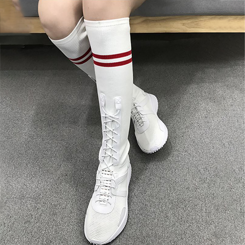 Sock Boots Women Shoes Summer White Black Mid Calf Boots Platform Breathable Fashion Shoes Flying Woven Casual Ladies Boots women creepers shoes 2015 summer breathable white gauze hollow platform shoes women fashion sandals x525 50