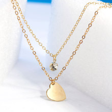 Simple Love Heart Crystal Long Chain Necklace Women Exquisite Double Layered Clavicle Necklaces Jewelry