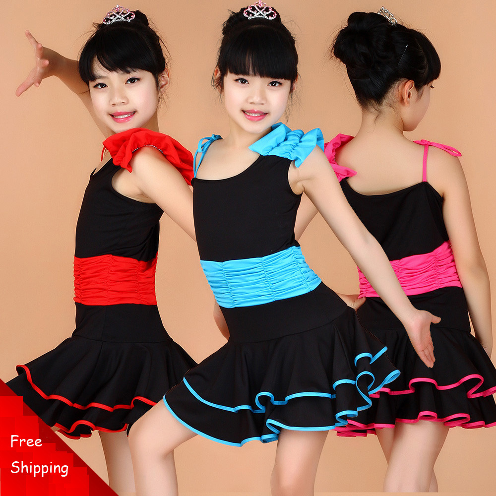 Girl Kids Leotard Ballet Dress Children Fancy Sexy Dress Strap Faldas Dancing Clothing Child Salsa Rumba Cha Cha Tango Costume