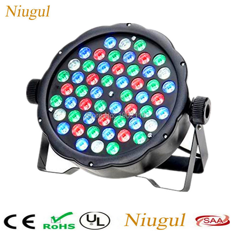 54x3W LED Flat Par light RGBW Color Mixing DJ Wash Light Stage Uplighting KTV Disco DJ lighting DMX512 LED Xmas home party lamps free shipping 54x3w flat led par light rgbw best quality par can dmx512 disco dj home party ktv led stage effect projector