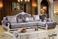 Home Furniture Sofa Set Genuine Leather Sofa Living Room Sofa With Solid Rubber Wood Carving French