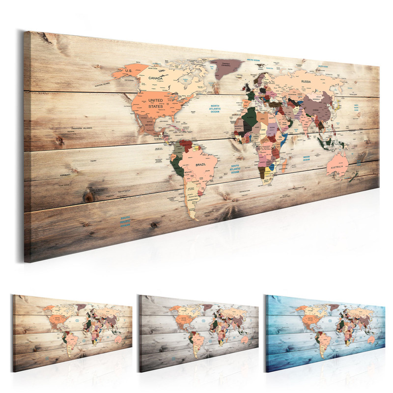 Grand Vintage World Map Canvas Painting Prints Posters Classical Modern Wall Art Pictures For Bedroom Or Living Room Home Decor