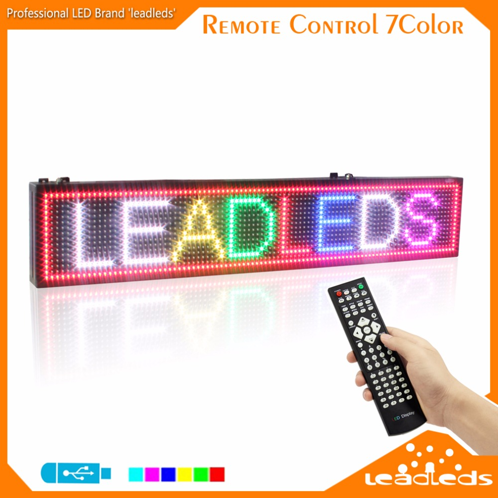 LEADLEDS 41X 9.5cm LED Sign Light Outdoor Lighting RGB 7 Colors High Bright Programmable Scrolling Message Display Screen Module