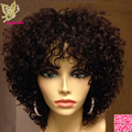 Короткие Курчавые Вьющиеся Фронта Шнурка Человеческих Волос Парики С Челкой Перуанский девственные Волосы Бесклеевого Полный Шнурок Парик Человеческих Волос Для Черных Женщин