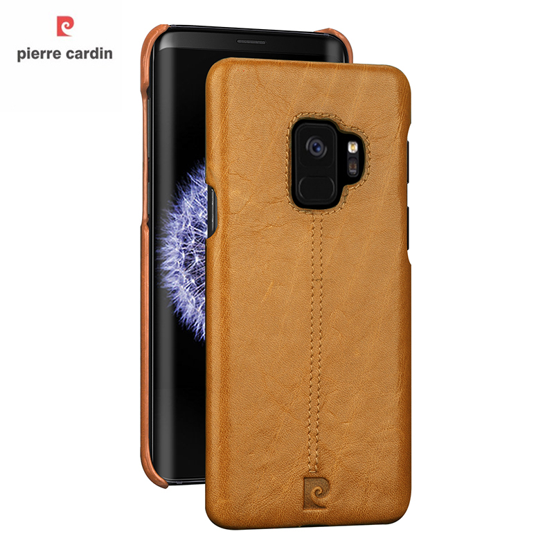 Pierre Cardin Luxury Genuine Leather Case For Samsung Galaxy S9 S9 Plus Phone Case Cover For S9 S9 Plus Ultra thin Back Cover