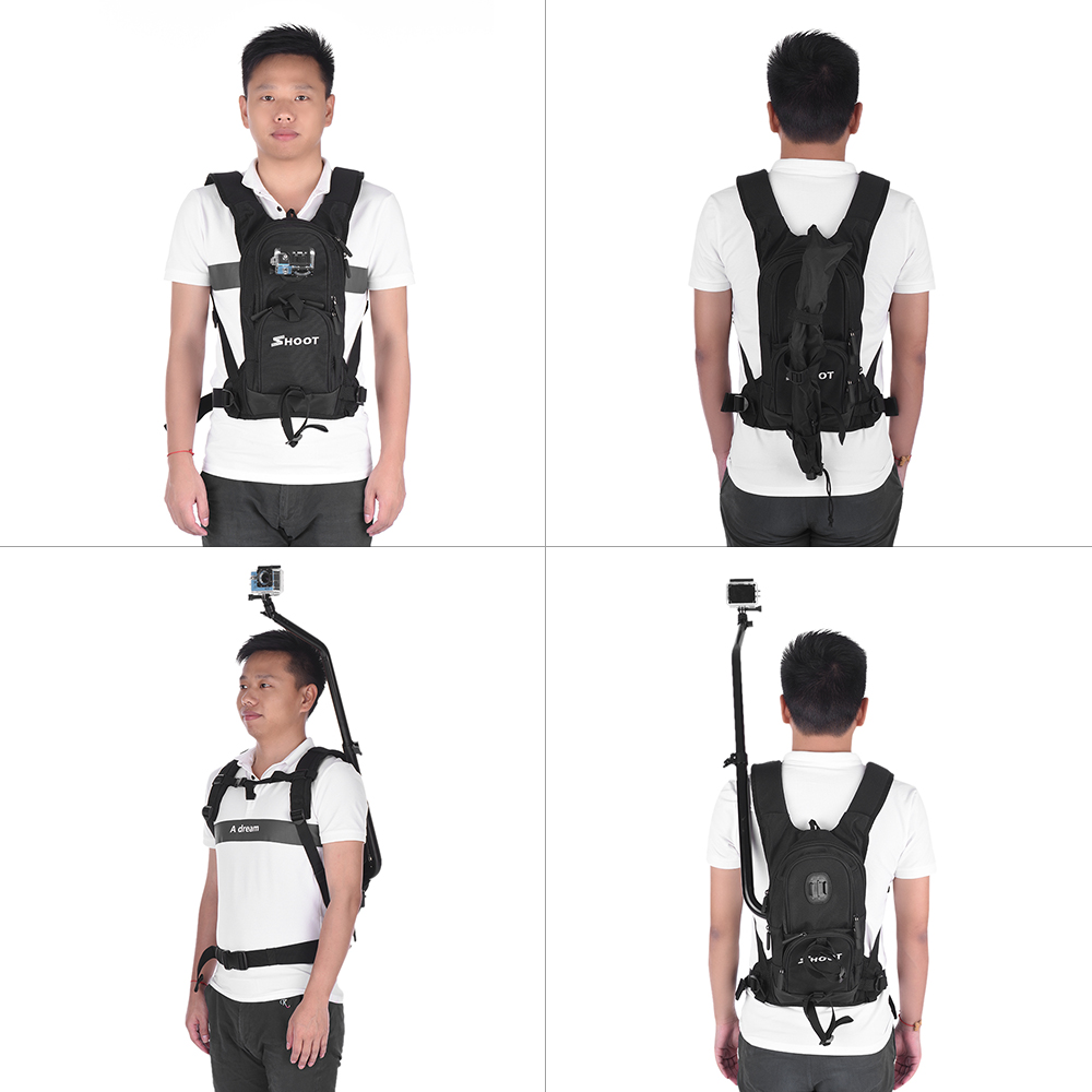 Moto vélo Selfie sac à dos pour GoPro Hero 5 4 Session Yi 4 K Go Pro Hero 3 sac à dos SJCAM SJ4000 caméra pôle bâton - 5