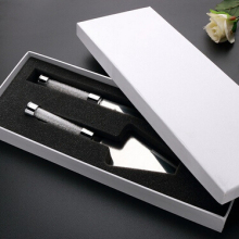 Manufacture stainless steel cake knife and serving set with rhinestones