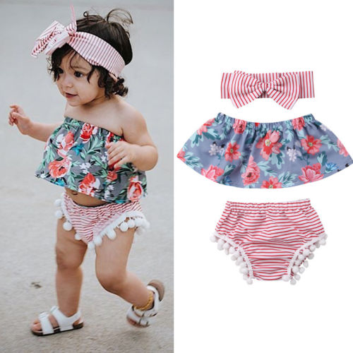 Summer Newborn Baby Girls Outfit Flowers Tops+Short Stripes Pants+Headband 3PCS Baby Summer Sunsuits 2018 Hot Sale
