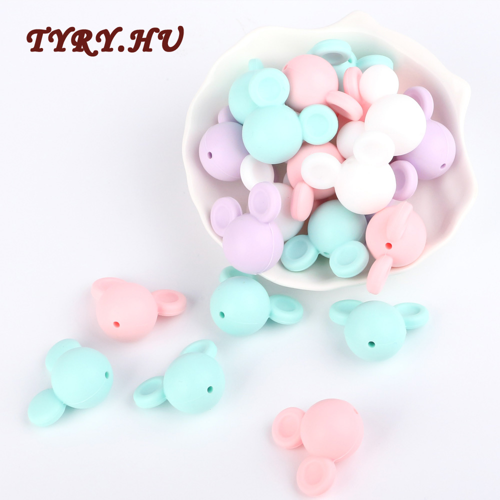 TYRY.HU 5pc Cute Mickey Mouse Head Silicone Beads  Food Grade Material For DIY Baby Teething Necklace Accessories Pendant Toys