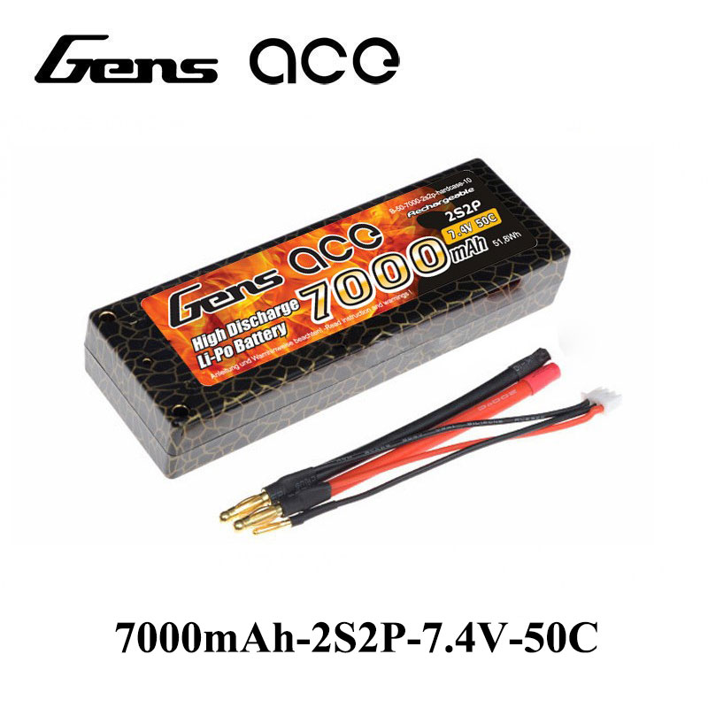 Gens ace Lipo Battery 2S 7000mAh Lipo 7.4V Battery Pack 4.0mm Banana toTplug 50C for Car Traxxas Slash Battery Traxxas Emaxx gens ace lipo battery 3s 5200mah lipo 11 1v battery pack 3 5mm banana connector 10c battery fpv hobbies rc models accessories