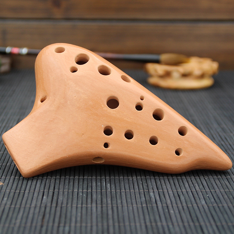 16 Holes Alto C Ocarina Multi Chamber Terracotta With Protective Bag/Lanyard/Manual