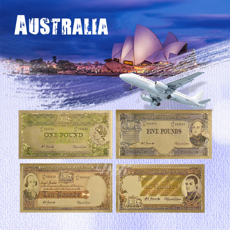WR Australian Gold Banknote 4pcs Set Colorful Old AUD Gold Plated Paper Money Happy New Year Gifts for Holiday Gifts