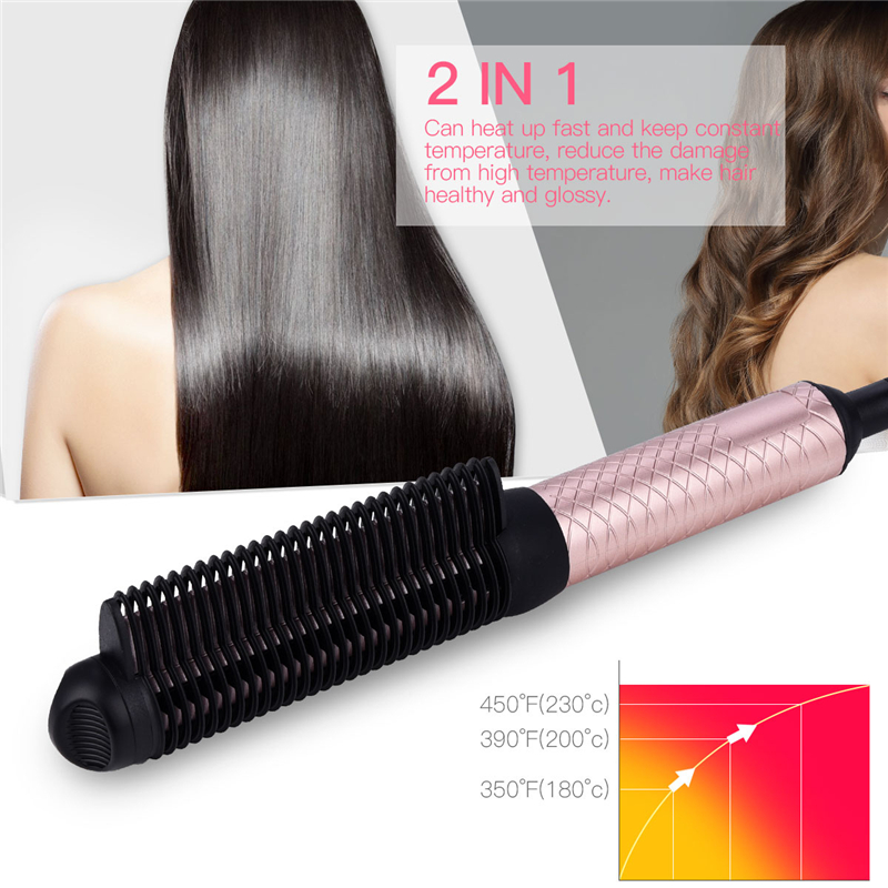 2 In 1 Hair Curler Straightener Anti-scald Flat Irons Fast Straightening Brush & Curling Tool Electric Hair Straightener Comb