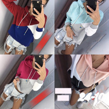 S-2XL women autumn spring winter hoodies blouse tops casual leisure brand striped